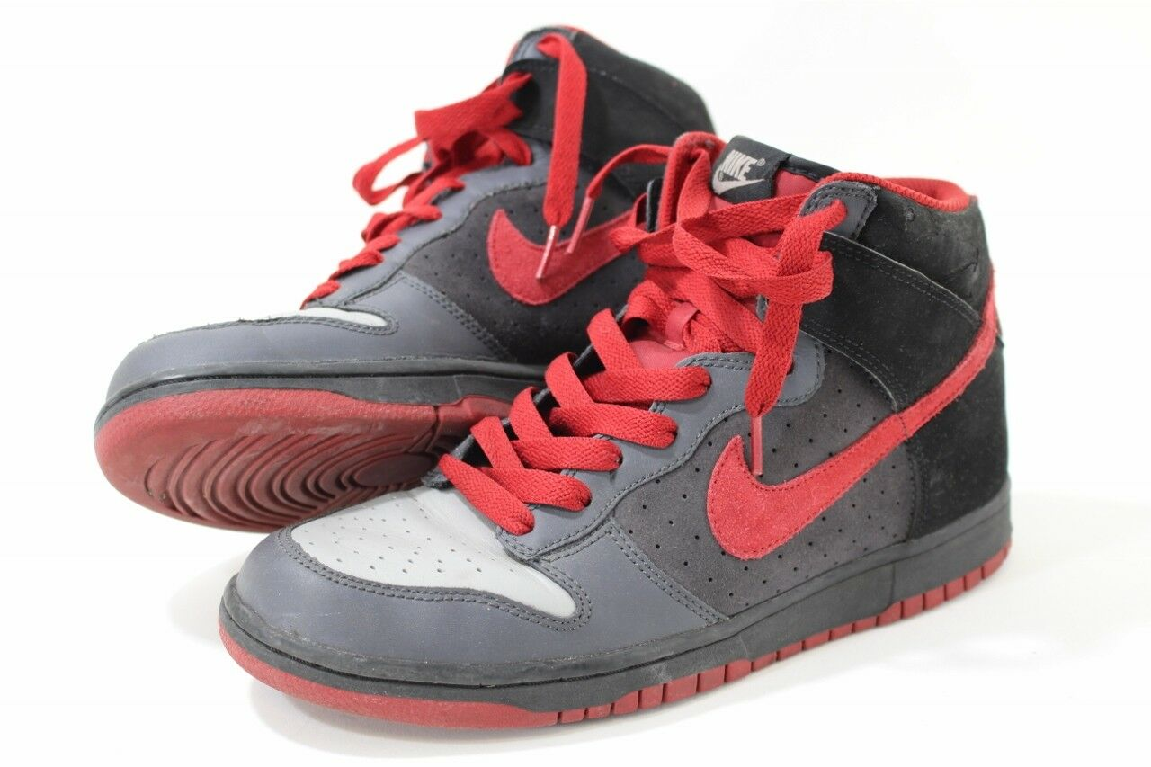NIKE Dunk High 317982-062 Vintage Black/Charcoal/Varsity Red Womens Comfortable  Wild casual shoes
