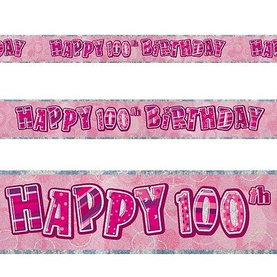 12ft Happy 100th Birthday Pink Sparkle Prismatic Party Foil Banner Decoration