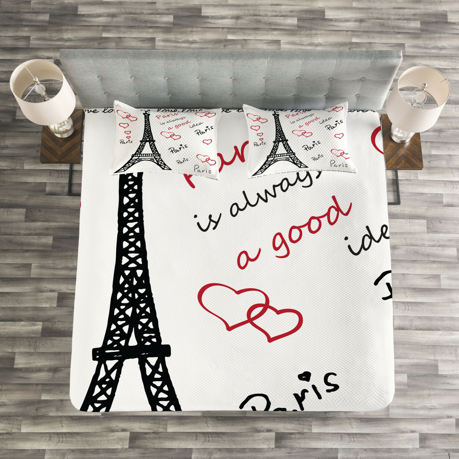 Eiffel Tower Quilted Bedspread & Pillow Shams Set, Eiffel Tower Paris Print