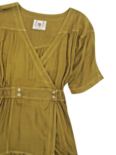 French connection button waist wrap dress olive or grey sizes 10 to 14