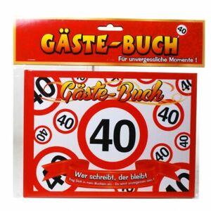 Geburtstag Gästebuch 40 Jahre Verkehrsschild Party Deko Gäste - Buch (7.50€/1EA)