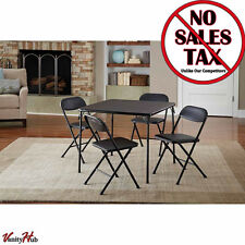 5-Piece New Folding Table and Chair Table Set Durable Cards Poker Party, Black