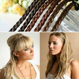 Die-Frauen-Synthetisches-Haar-Geflochtene-Elastische-Stirnband-F0P9