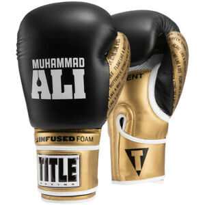 Title Boxing Ali Infused Foam Hook and Loop Training Boxing Gloves - Black/Gold