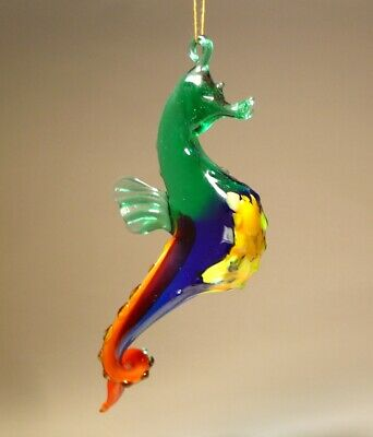 Blown Glass Art Hanging Blue Green Red Fish Seahorse Figurine Ornament Ebay
