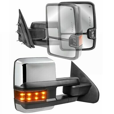 Towing For 07-14 Chevy GMC Chrome Side Power Heated Led Signal Mirrors Pair Set