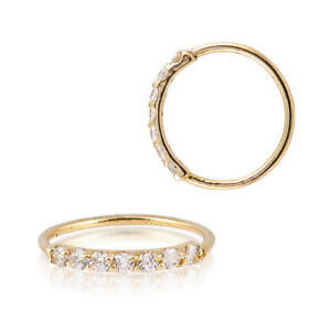 Sterling-Silver-925-Gold-Plated-7-CZ-Accent-Hoop-Helix-Tragus-Nose-Ring-20G