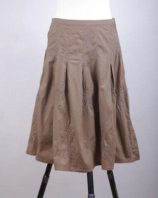 Skirts Size Uk 10 Aromatic Flavor Objective L193/07 Colorado Cotton Embrodeiry Light Brown A-line Skate Skirt Women's Clothing