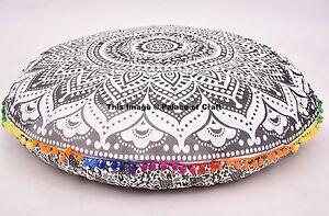 Indian-Black-amp-White-Round-Floor-Pillow-Cover-Boho-Gypsy-Decor-Cushion-Pouf-Sham