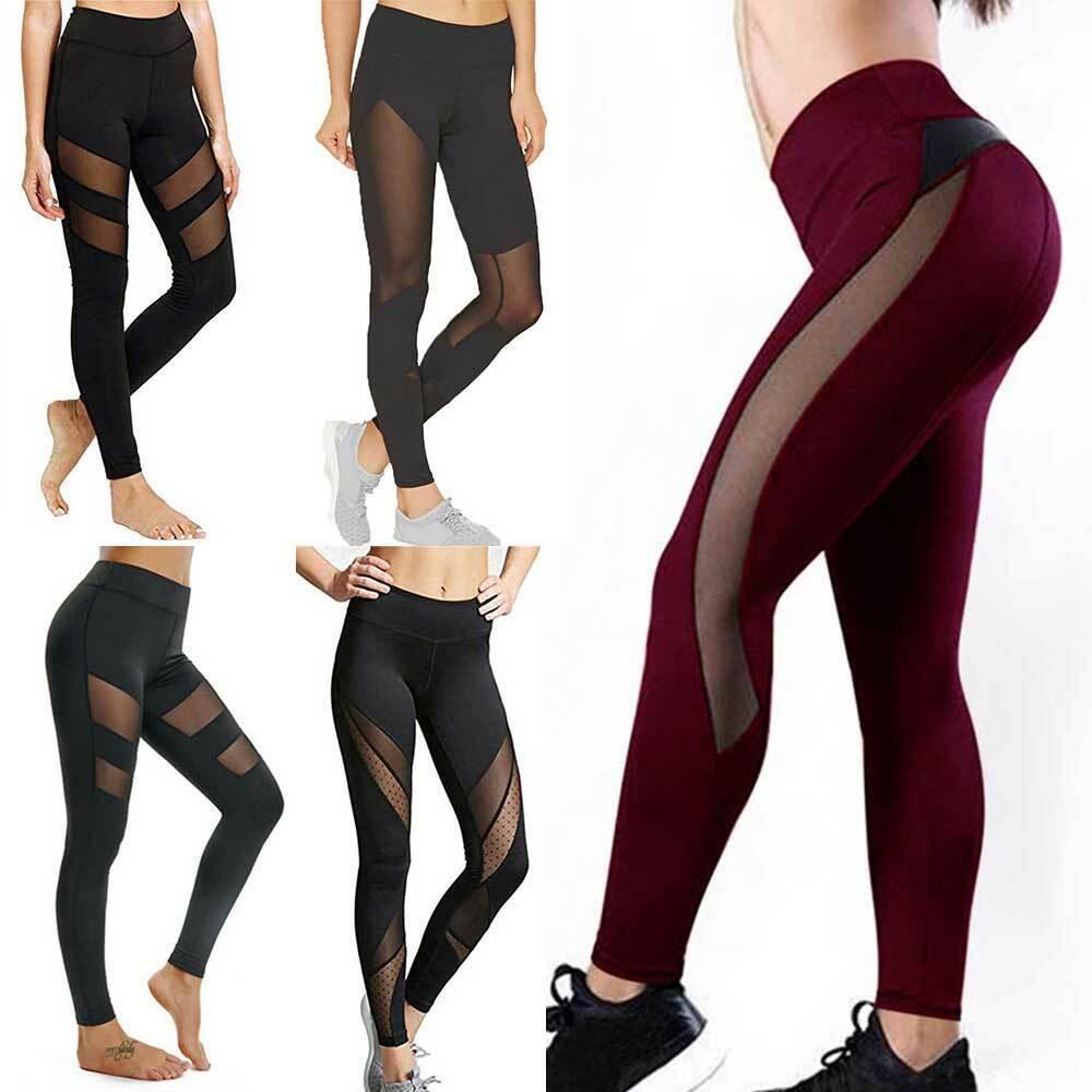Sexy Women Yoga Pants Butt Lift Sport Leggings Gym Fitness Running Workout Mesh