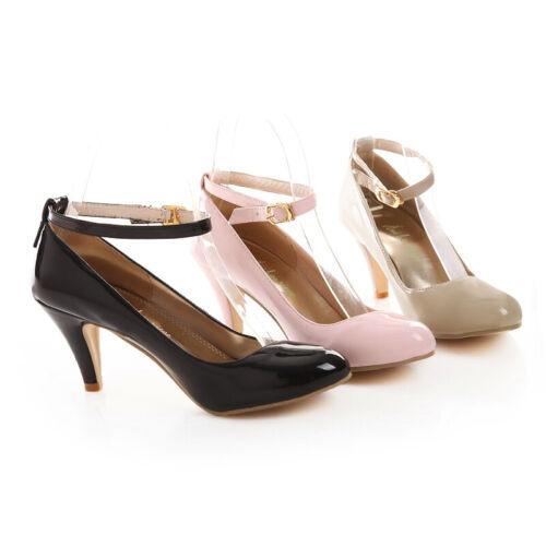 Princesse Chaussures Mary Janes bout rond Bloc Talons Cuir Verni à Enfiler Chaussures