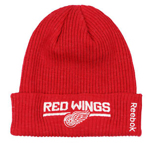 7f25ce2c0b4 REEBOK Detroit Red Wings Cuff Knit Beanie One Size Red White Winter ...