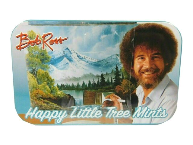 Bob Ross Happy Little Tree Mints Tin Can Turquoise Brown Empty Famous Tv Artist For Sale