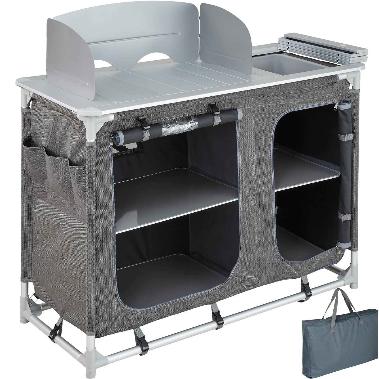 Cuisine de camping aluminium mobilier armoire placard table d'extérieur pliable