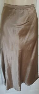 LADIES-M-amp-S-GOLD-SATIN-A-LINE-PULL-ON-SLIP-MIDI-SKIRT-BNWT-SIZE-16