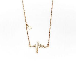 Goldkette damen herz  Damen Halskette in Gold, Kette EKG Herzschlag Herz Anhänger Liebe ...