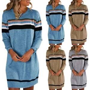 Women-Long-Sleeve-Sweatshirt-Sweater-Pullover-Jumper-Mini-Dress-Casual-Tee-Tops