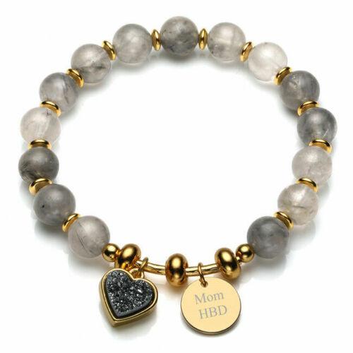 Quartz Geode Druzy Heart Text Engraved Dog Tag Customized Macrame Bracelet Gift