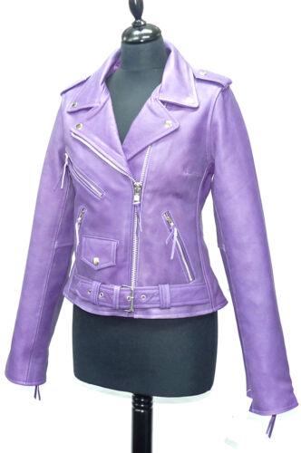 TANIA Viola Donna Woman/'s Brando Stile Designer Vera COW Hide leather jacket