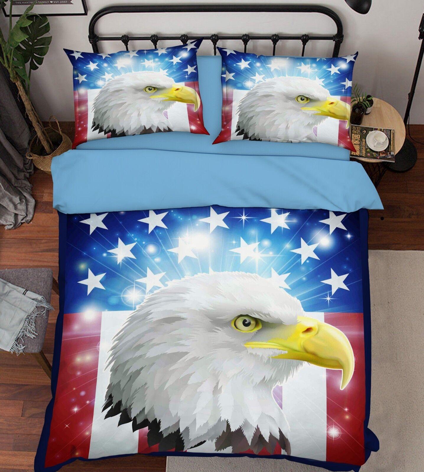 3D Flag Eagle 69 Bed Pillowcases Quilt Duvet Cover Set Single King UK Summer