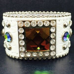 Western-Cowgirl-White-White-Croc-Leather-Multicolor-Square-Concho-Belt-Bracelet
