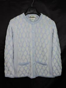 Aran-Crafts-M-Blue-White-Merino-Wool-Cardigan-Sweater-Ireland-Irish-Cable-Knit-M