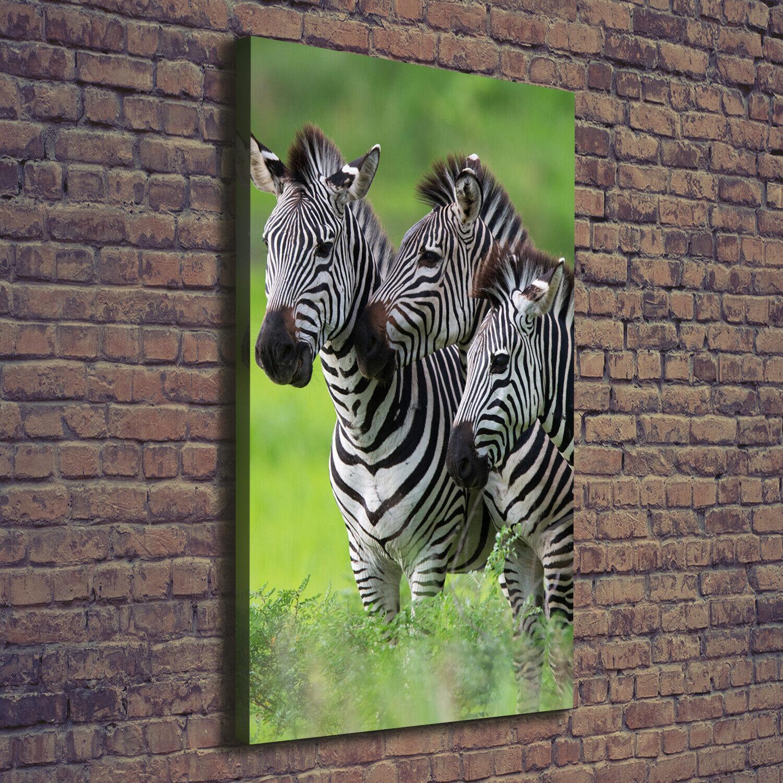 Leinwand-Bild Kunstdruck Hochformat 70x140 Bilder Drei Zebras