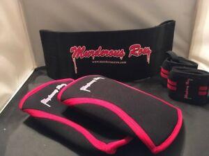 Wrist Wrap MURDEROUS ROW Bench Press Sling Shot + 7mm X-Heat Knee Sleeves XL