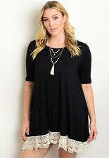 WOMENS PLUS DRESS 2X BLACK TUNIC TOP NEW 18 20 XXL LACE NWT CUTE SUMMER DEAL