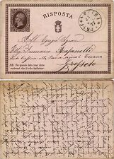 Cartolina Postale RISPOSTA 10 cent(C2) VITTORIO EMANUELE II 1874