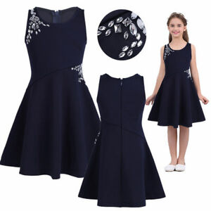 5c3c88fc725e Girl Kids Flower Princess Formal Dress Party Casual Wedding Pageant ...