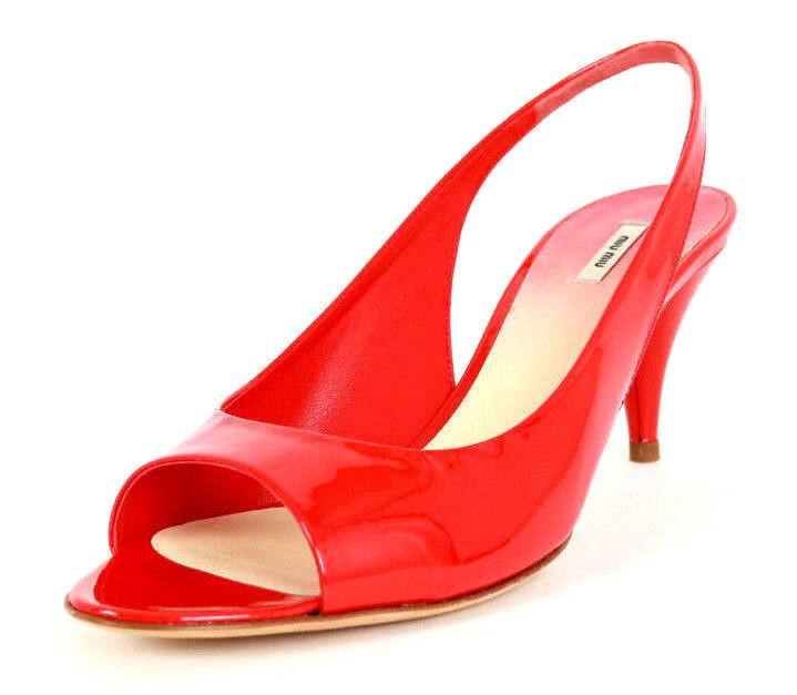 MIU MIU Red Patent Leather Open-Toe Heels Slingbacks 37.5 NEW