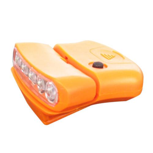 5 LED Cap Hut Krempe Clip Lampe Kopf Licht Scheinwerfer für Camping Wandern Neu