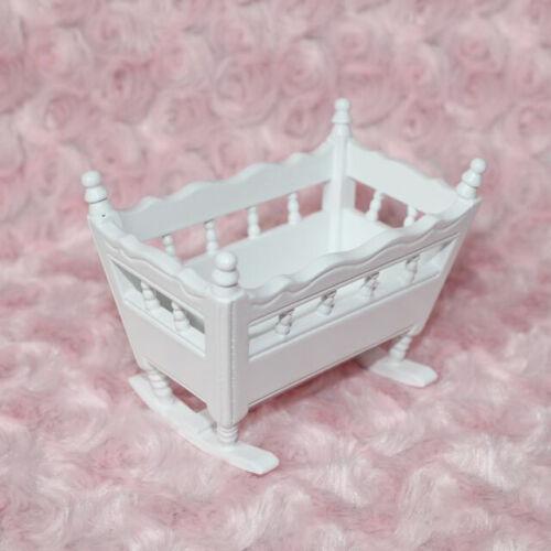1:12 Miniatura Culla Legno Bianco Lettino Neonati Mobili Arredo Casa Bambole