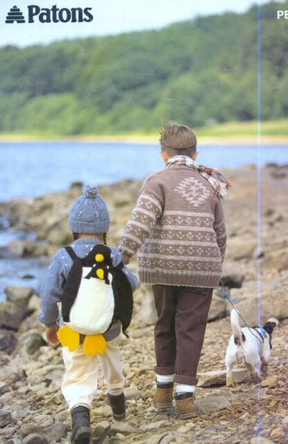 Knitting Patterns Childrens Sweaters Dress Aran Cable Inca Penguin