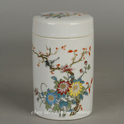 Collect Chinese Famille-rose Porcelain Mountains Rivers Landscape Tea Caddy Pot