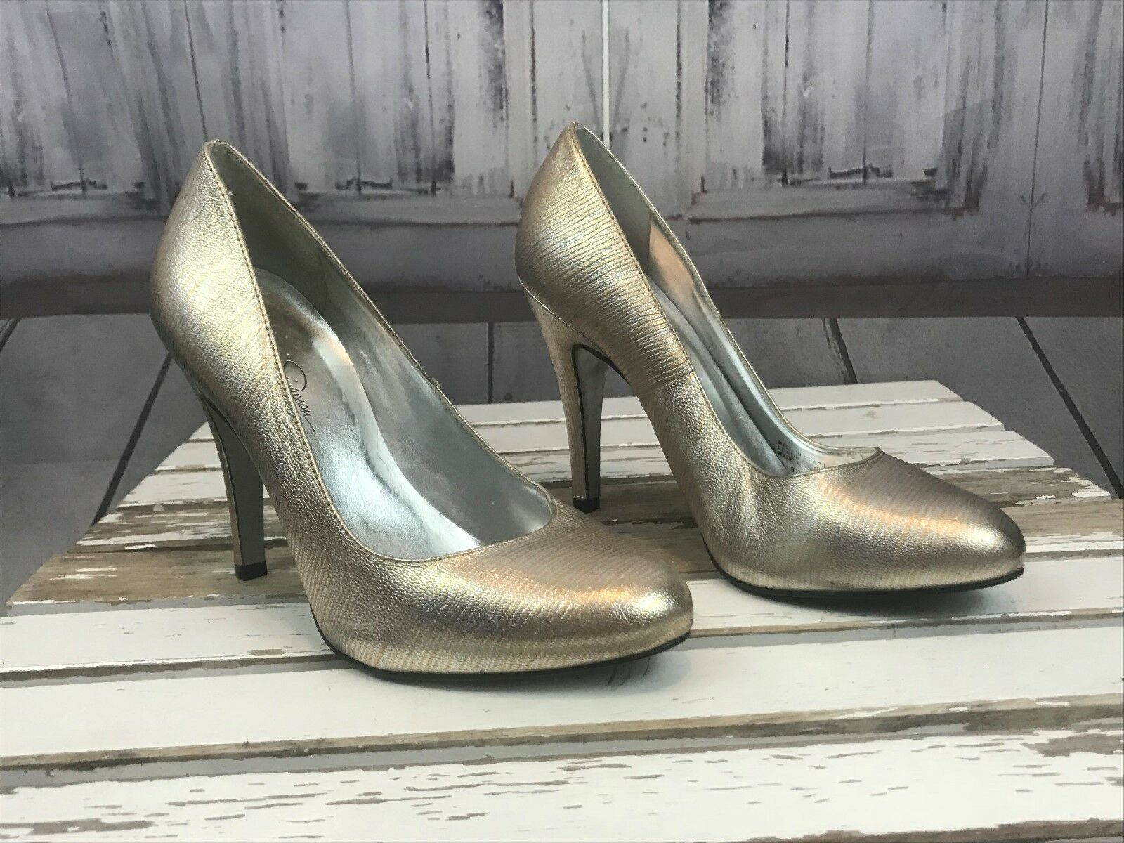 Jessica Simpson Silver Heels Formal Prom Homecoming Dress Up 4 Inch Size 8.5