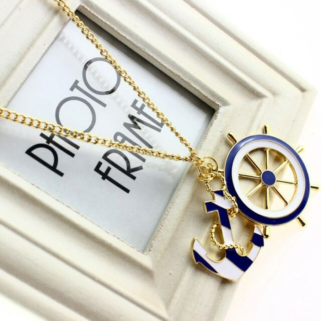 anchor shape golden necklace pendant navy blue winsome sweater chain new h