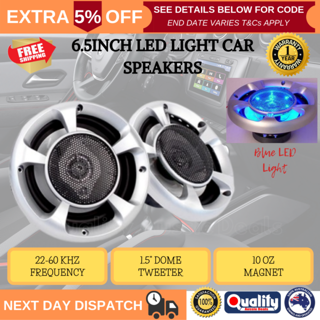 """2x 6.5"""" Inch Car Speakers 3-Way 500W Audio Component Stereo With Blue LED Light"""