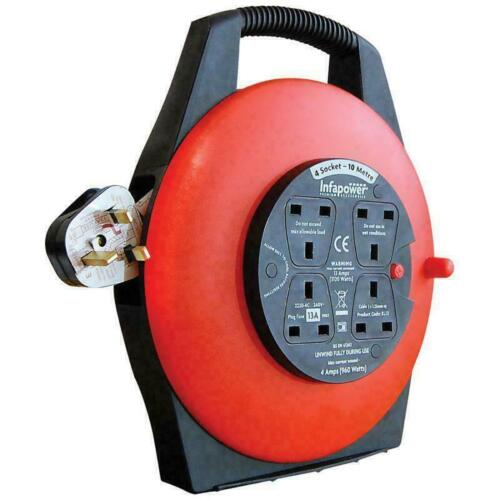 10M 4 Way 13 AMP Electric Extension Cable Reel Mains Plug /& Socket Lead-Slim