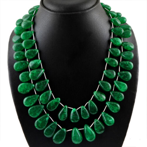 885.00 CTS EARTH MINED 2 STRAND PEAR SHAPED RICH GREEN EMERALD BEADS NECKLACE