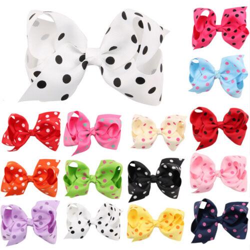 20pcs Baby Kids Girl Infant Dot Boutique Ribbon Bow Hair Clip Pin Hairpins Band