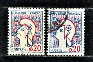 TIMBRE DE FRANCE 1961 MARIANNE DE COCTEAU   N°1282 TYPE I & II  OBLITERES