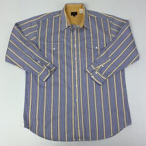 Roper-Mens-Size-2XLT-Tall-White-Blue-Yellow-striped-Long-Sleeve-Western-Shirt