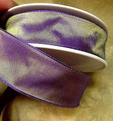 "VINTAGE 7//8/"" FRENCH RIBBON with wire SOLID 1yd CHINA PURPLE Made in France"