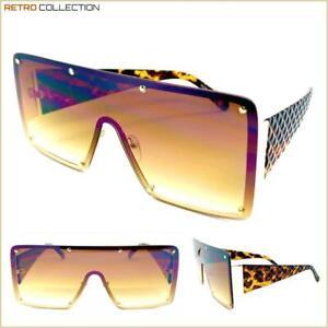 EXAGGERATED RETRO LUXURY SHIELD Style Designer Fashion SUNGLASSES Tortoise Frame