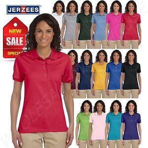 Jerzees-Women-Polo-Shirt-Short-Sleeve-SpotShield-Solid-M-437W