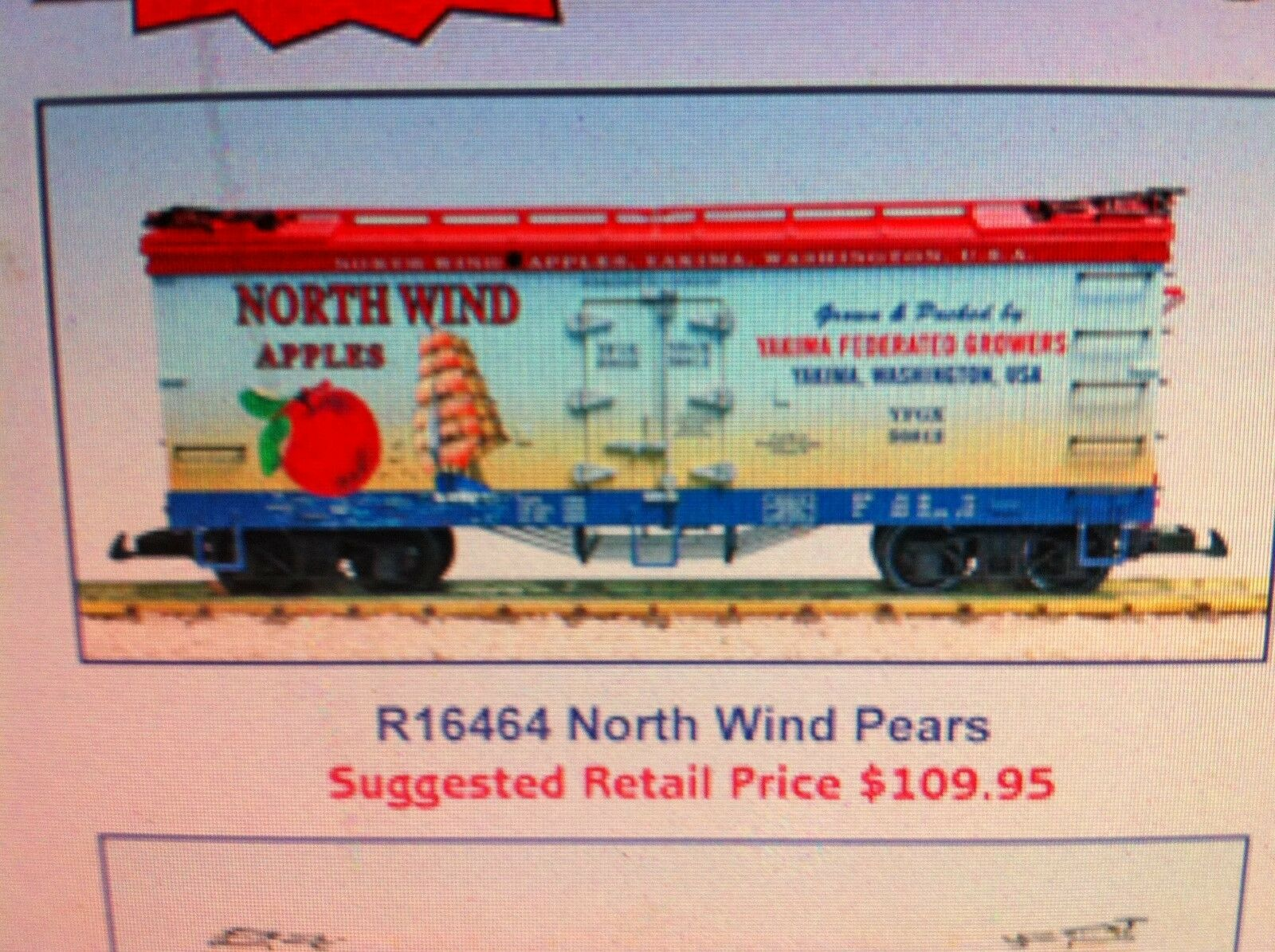 USA Trains G Scale 16464 U.S. REEFER CAR North Wind Pears NEW RELEASE