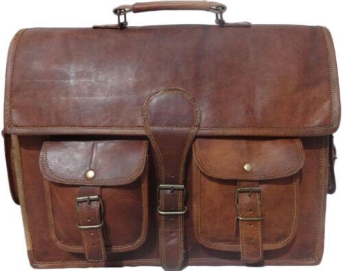 """15/"""" Men/'s Genuine Vintage Brown Leather Messenger Shoulder Laptop Briefcase Bag"""