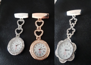 Personalised-Nurse-Carers-Fob-Watch-ROSE-GOLD-SILVER-Round-flower-shape